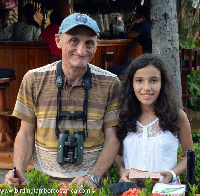 """Special guest Robert Dean, illustrator of """"The Bird of Costa Rica"""" field guide signing Paulas guide book!"""
